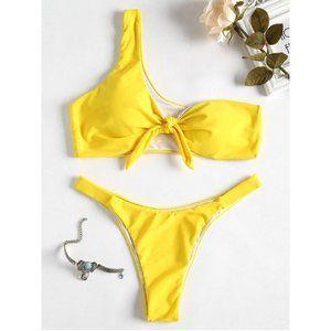ZAFUL Knot One-Shoulder Bikini Set